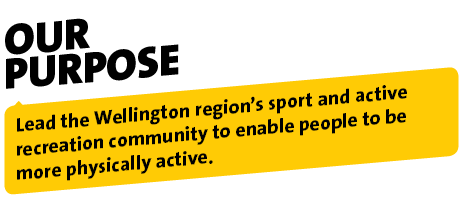 Our Purpose - Lead the Wellington region's sport and active recreation community to enable people to be more physically active.